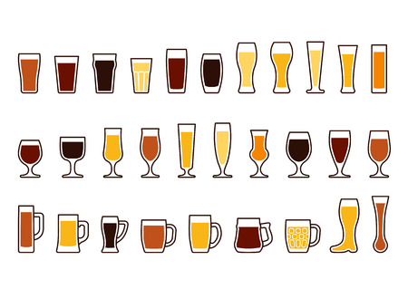Set icons of beer mugs and glasses, vector illustration Illustration