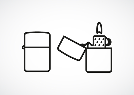 closing: Icon lighter opening and closing. Vector, line, minimal icon Illustration