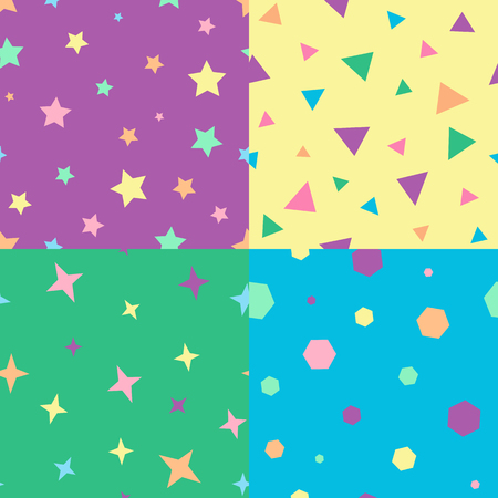 child's: Set of childs geometric seamless patterns, vector