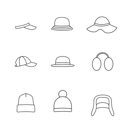 panama hat: Caps and hats icon set. Vector line icons
