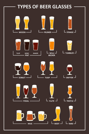 types of glasses: Beer glasses types guide. Beer glasses and mugs with names. Vector illustration in flat style. Illustration