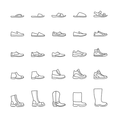 brogues: Set of icons of mens shoes. Vector line icons Illustration