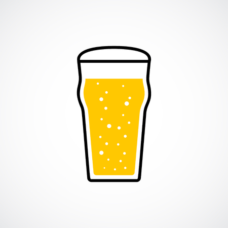 type bar: Pint of lager beer with foam and bubbles. Vector icon
