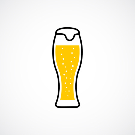Wheat beer in weizen glass. Vector icon