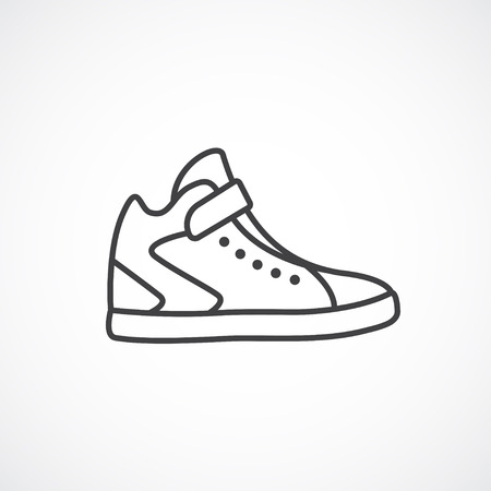 men's: High sneakers icon. Mens , womens running shoes. Vector line icon Illustration