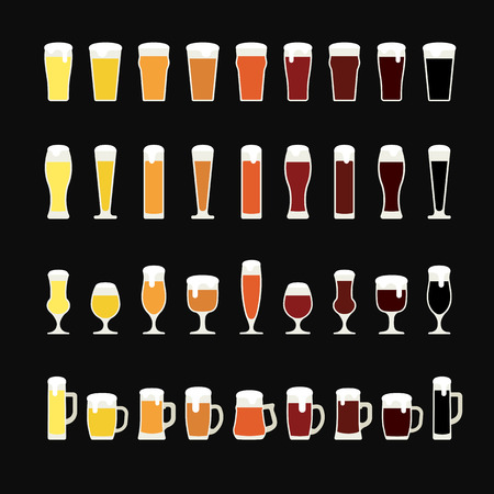 tankard: Rows of beer from light to dark in variety of glasses and mugs. Beer icons. Illustration