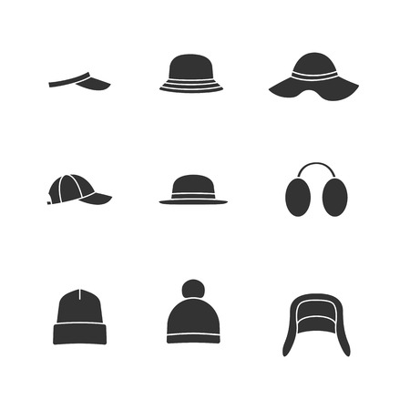 silhoette: Caps and hats icon set. Illustration