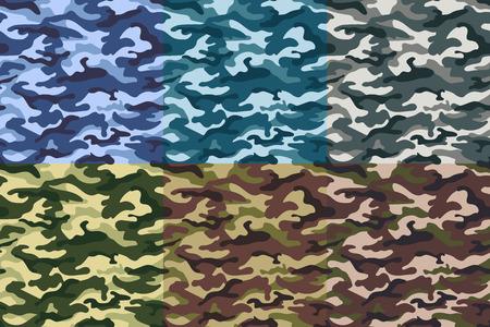 軍の迷彩のシームレス パターンのセットです。図