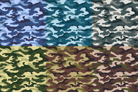 Set of army camouflage seamless pattern. illustration