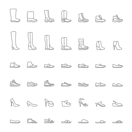 Shoes icons, men women fashion shoes, line icons set.  illustration Illustration