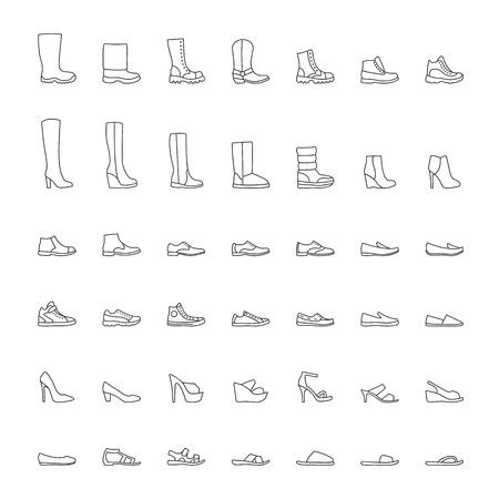 Shoes icons, men women fashion shoes, line icons set.  illustration Иллюстрация