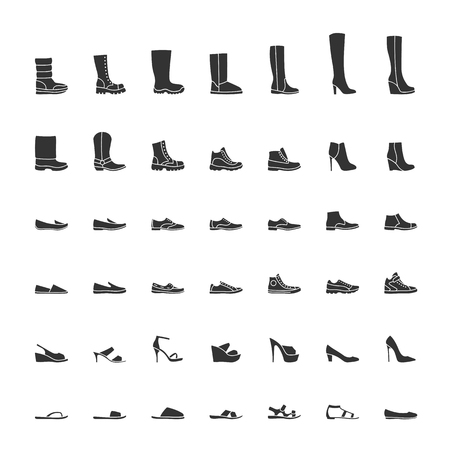 clogs: Black shoes icon set, men women fashion shoes. illustration