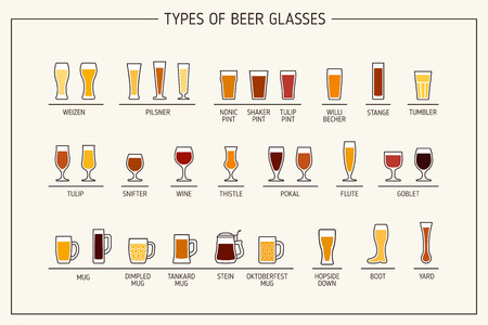 beer tulip: Beer glass types. Beer glasses, mugs with names. Vector illustration