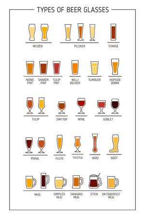 vasos de cerveza: guía vaso de cerveza. vasos de cerveza, las tazas con nombres. ilustración vectorial Vectores