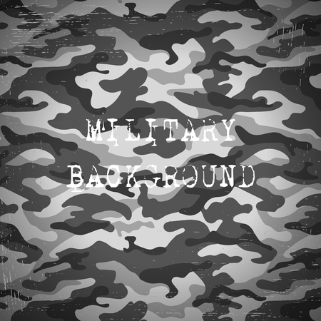 scuff: Military camouflage black and white background. Vector illustration