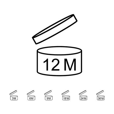 Periode na het openen van de PAO-symboolset. Pictogrammen op verpakking. Vector