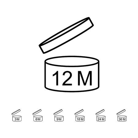Period after opening PAO symbol set. Icons on packaging. Vector