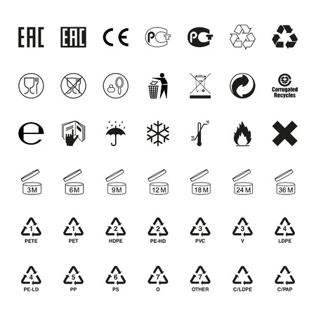 Packaging symbols set. Icons on packaging. Vector Vettoriali