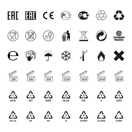 Verpackung Symbole gesetzt. Icons auf der Verpackung. Vektor Standard-Bild - 67753332