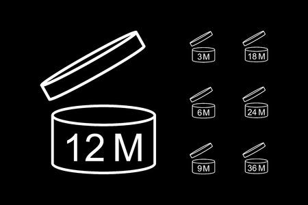 Zeitraum nach dem Öffnen des PAO-Symbolsatzes. Weiße Icons auf Verpackung. Vektor