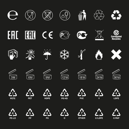 Package symbols set. White icons on packaging. Vector
