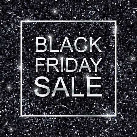 shiny argent: Black friday sale background, black shiny glitter and silver. Vector
