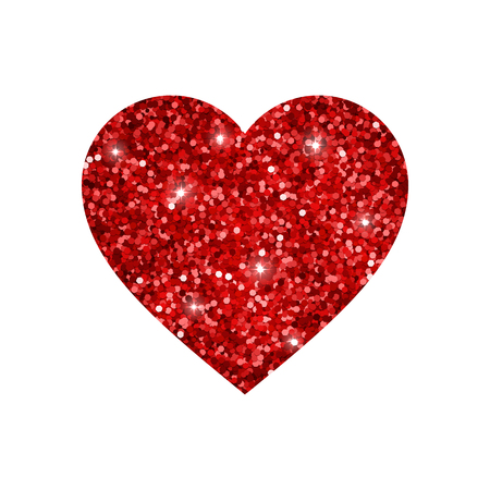 brightly: Heart from red glowing glitter. Vector illustration