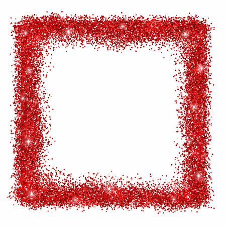 Square frame with red glowing glitter. Vector Vettoriali