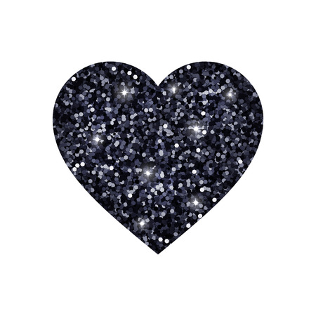 brightly: Heart from black glowing glitter. Vector illustration
