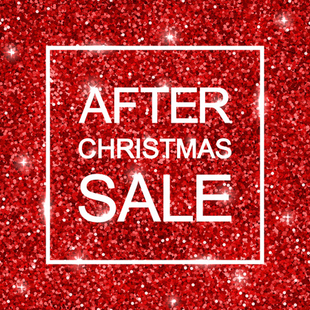 after: After Christmas Sale background, red shiny glitter. Vector Illustration