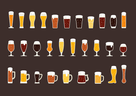 beer tulip: Set of beer with bubbles in glasses and mugs. Vector illustration