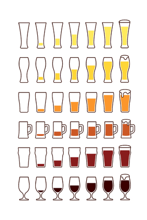 glass half full: Glasses of beer: empty half full. Vector illustration