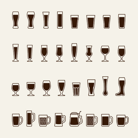 beer tulip: Set icons of beer glass silhouettes. Vector illustration