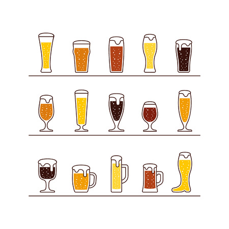 Beer in glasses and mugs. Vector illustration