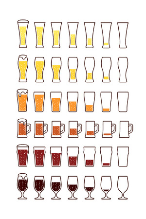Glasses of beerwith bubbles: empty half full. Vector illustration