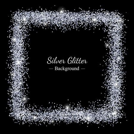 Silver sparkles shiny frame on black background. Vector
