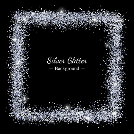 Zilver glinster glanzend frame op zwarte achtergrond. Vector