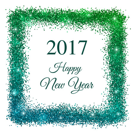 2017 Happy New Year With Blue Green Glitter Frame On White ...