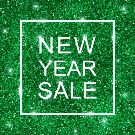 New Year Sale on green shiny glitter background. Vector illustration Illustration