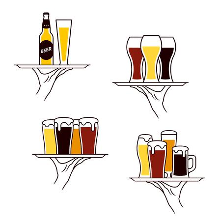 stein: Hand of waiter holding beer bottle and glass on tray. Vector illustration Illustration