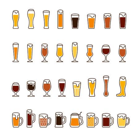 Bière dans des lunettes et des tasses avec de la mousse, diverses couleurs. Ensemble d'icônes Vector