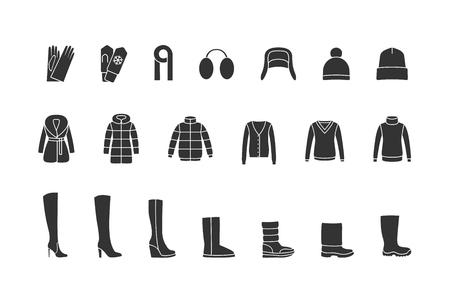 Winter-Kleidung, Schuhe schwarz-Icons gesetzt. Vektor