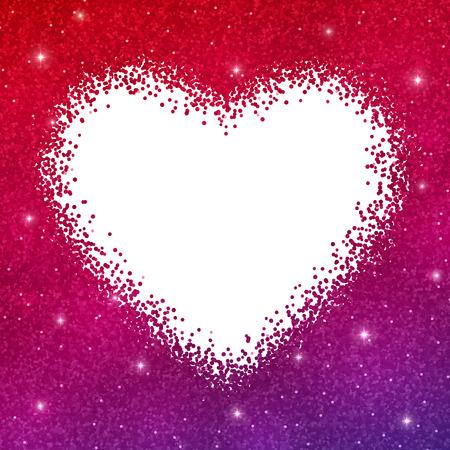 Glitter heart border frame on white background. Red purple gradient effect. Vector illustration