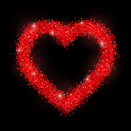 Glitter heart red frame on black background. Vector
