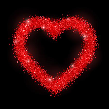 Glitter heart red frame on black background. Vector