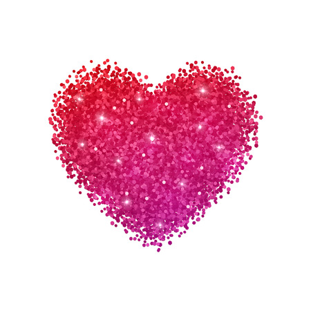 Heart glitter with red purple gradient effect. Isolated on white background. Vector