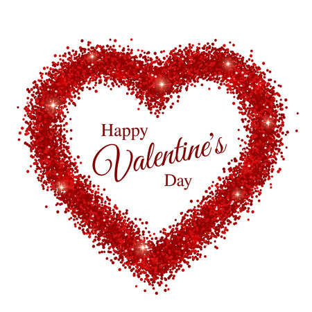 Happy Valentines Day Greeting Card In Red Sparkles Frame. Vector  Illustration Stock Vector   69427190