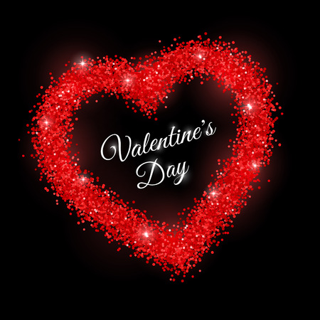 Valentines Day with red glitter frame on black background. Vector illustration