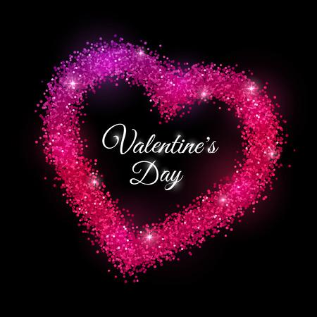 Valentines Day with red purple sparkles frame on black background. Vector illustration Vektoros illusztráció
