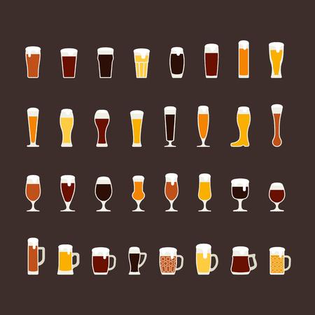 Jeu d'icônes plat verres et tasses de bière, variété de bières